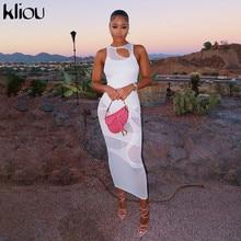 Kliou Sexy Maxi Dress Women Spring Active Irregular Shape Streetwear Sleeveless Skinny Slim Bodycon Vestido Sense of Design Hot