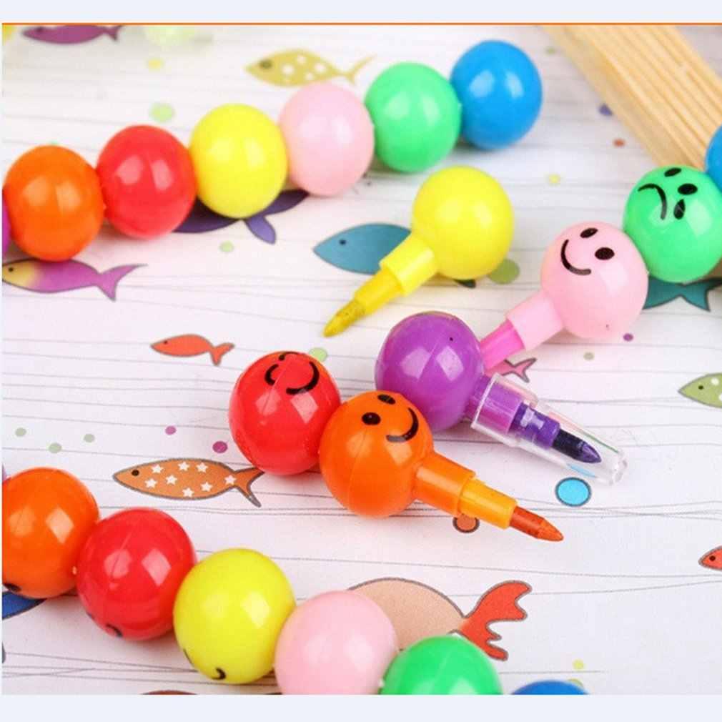 7 สีดินสอสี Creative น้ำตาล Haws การ์ตูนยิ้ม Graffiti ปากกาเครื่องเขียนของขวัญเด็กขี้ผึ้งดินสอดินสอ 7 สี
