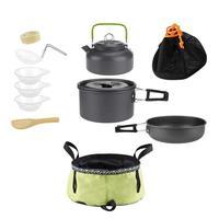 Outdoor Camping Hiking Cookware Picnic Fry Pan Pot Foldable Basin Spoon Kit