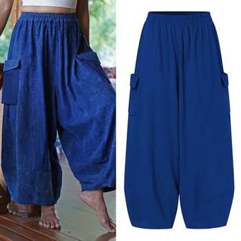 VONDA Vintage Casual Loose Long Trousers Fashion Women Solid Wide Leg Pants Autumn Elastic Waist Pantalon Cotton Palazzo S-5XL 8