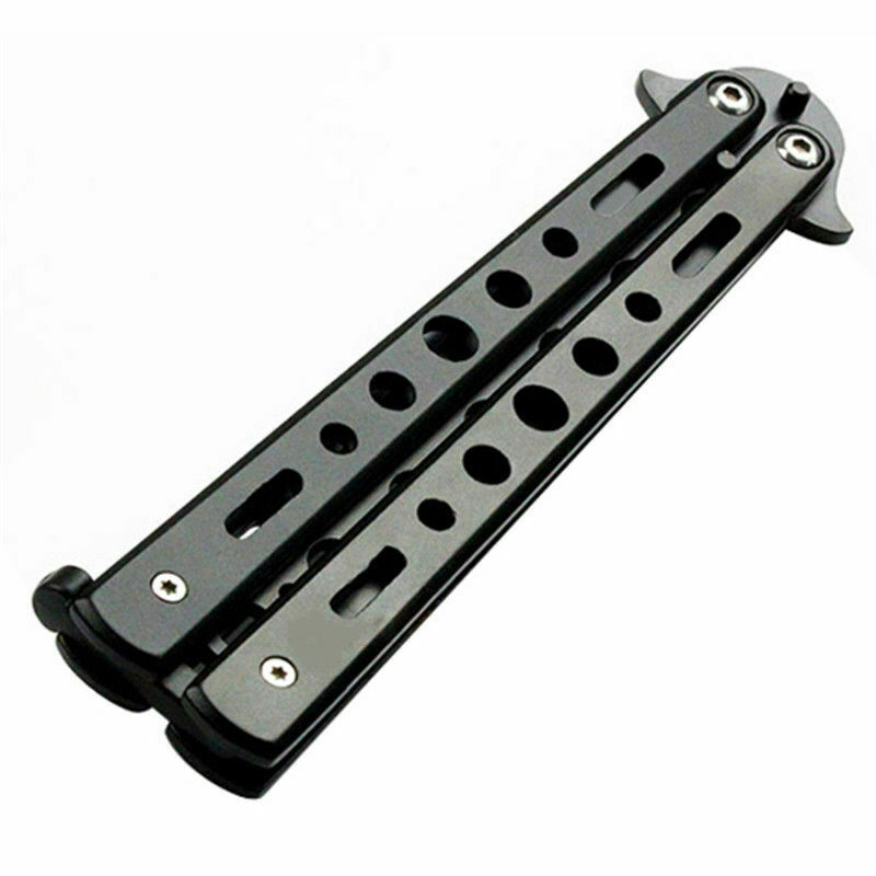 2020 Butterfly Balisong Trainer Knife Training Dull Tool Black Metal Practice