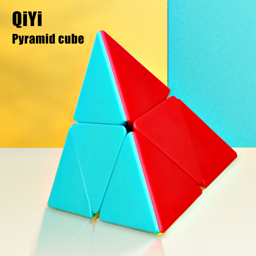 QiYi 2x2 Pyramid Cube Professional Magic Speed Cubes Stickerless Puzzle 2x2x2 Cube Education Toys For Kids Gift