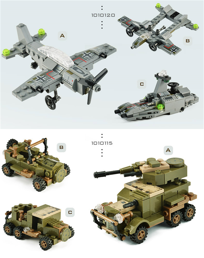 1061PCS Tank Building Blocks Toys Mini figures Vehicle Aircraft Boy Educational Block Military Compatible LegoINGlys Bricks (13)