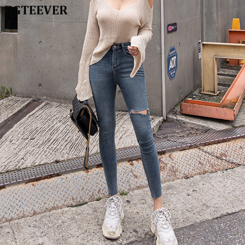 2019 Plus Size Button Fly Women Jeans High Waist Denim Pants Women High Elastic Skinny Pants Ripped Hole Stretchy Women Trousers