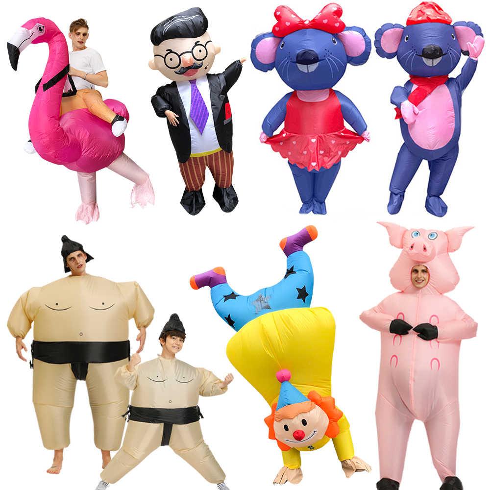 חדש למבוגרים ילדי ליצן מתנפח תלבושות בוס סומו זוגות עכבר Cosplay תלבושות ורוד חזיר ליל כל הקדושים חג המולד המפלגה סרבל