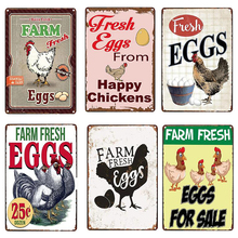 Farm Fresh Eggs Metal Tin Sign Plate Chicken Egg Shabby Chic Poster Home Kitchen Wall Decor Iron Painting