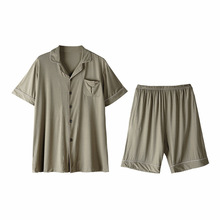 Modal pyjamas men's summer short sleeve shorts home wear lapel thin size men's casual simple suit