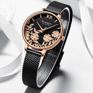 Image 5 - CURREN zegarki damskie Top marka luksusowy zegarek ze stali nierdzewnej stalowy pasek dla kobiet Rose Clock stylowe panie kwarcowe puzderko na prezent