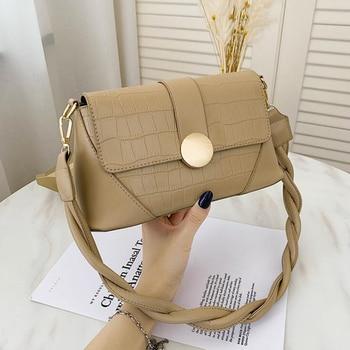 2020 New Stone Pattern Shoulder Bag Rope Strap PU Leather Crossbody Bags for Women Designer Handbags Luxury Women Bags - Khaki, 25x12x9cm