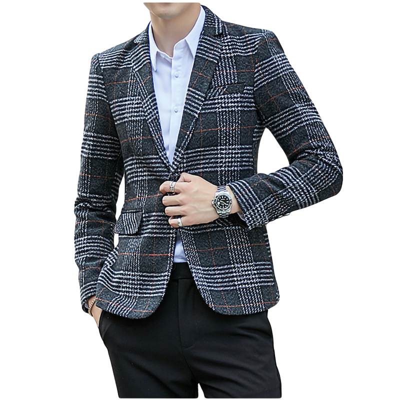 Wool Vintage Mens Blazers Plaid Stylish Casual Wedding One Button Men Suit Jacket Groom Blazer Tweed Hommes Slim Fit Male Coats