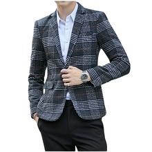 Wool Vintage Mens Blazers Plaid Stylish Casual Wedding One Button Men Suit Jacket Groom Blazer