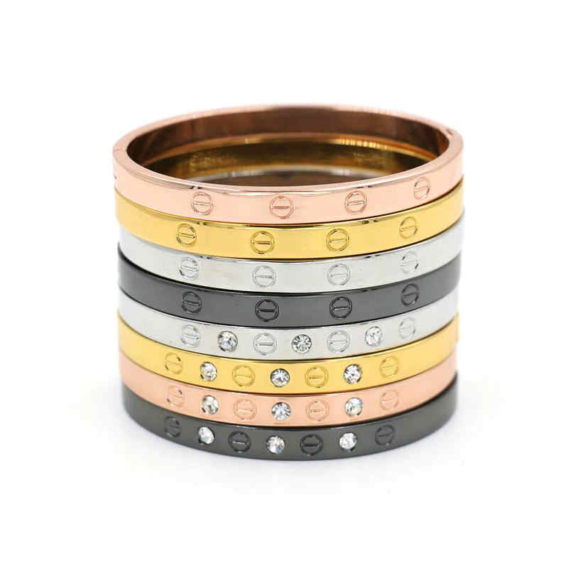 Screw Bangle For Women Bracelets & Bangles Gold Jewelry Girl Gift