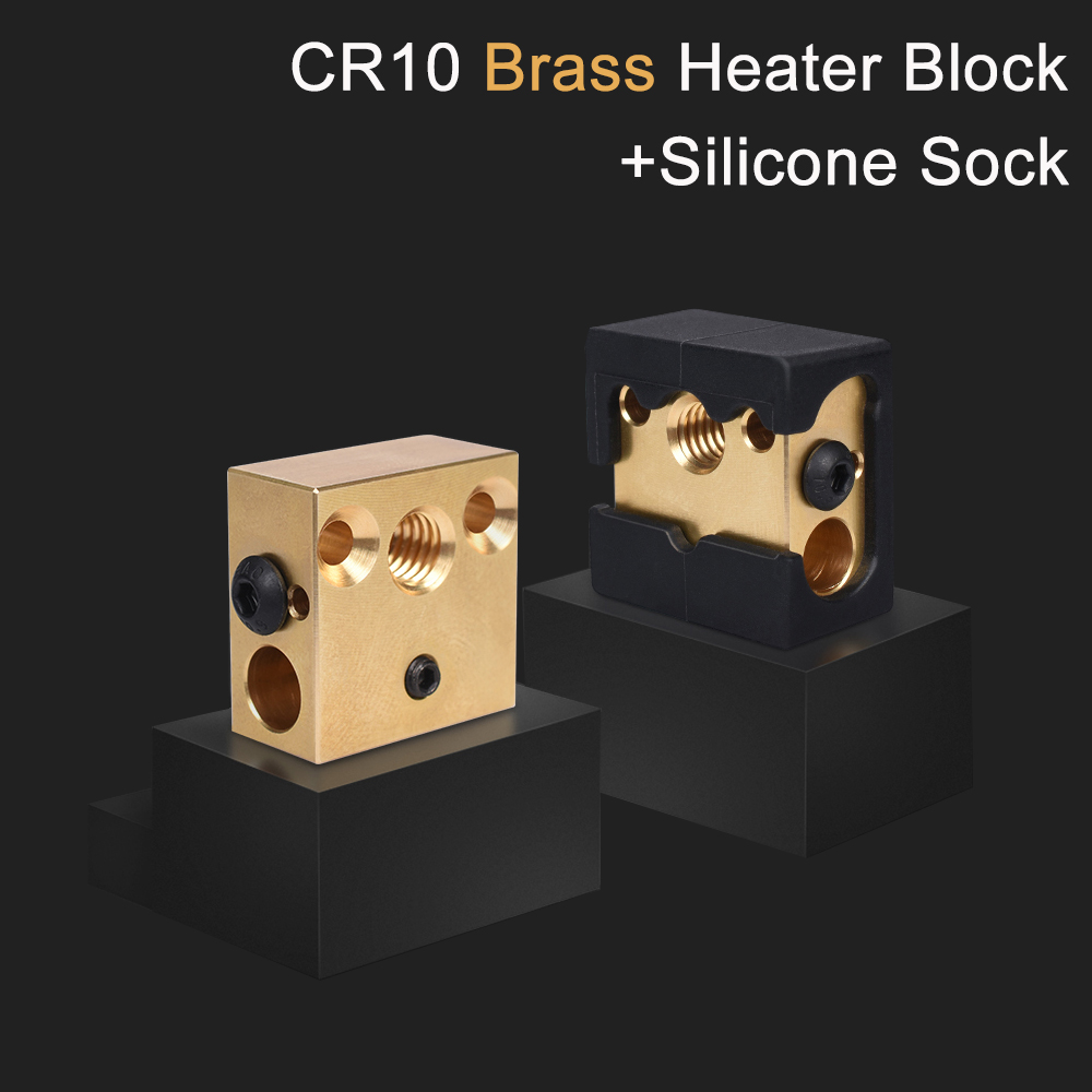 CR10 Heater Block Brass 3D Printer Parts For CR10 Hotend MK8 Silicone Sock For Ender 3 CR-10 CR10S PRO Extruder MK8/ V6 Nozzle