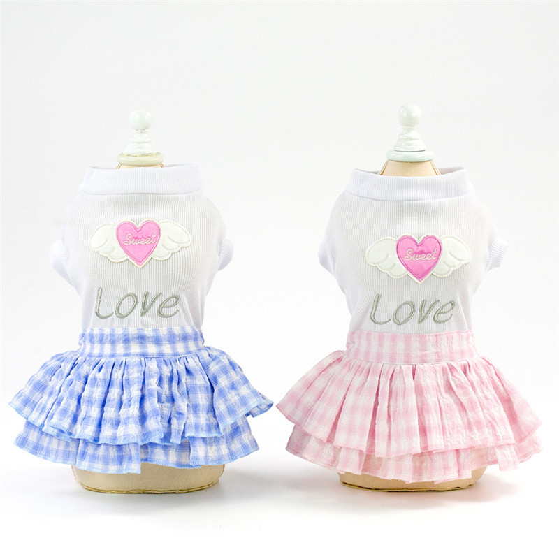 Cute clothes dresses Pet Puppy dog Sweet Princess Apparel Plaid Short Skirt Top with Love Heart skirts Pattern Dog Dress