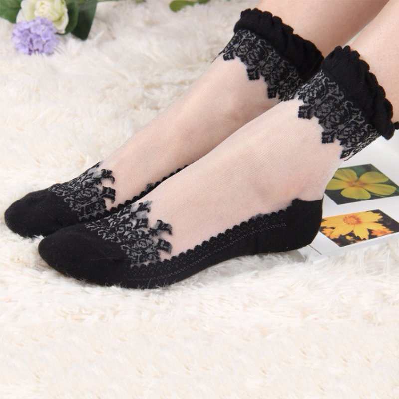 2 Pair Women Lace Ruffle Ankle Sock Soft Comfy Sheer Silk Cotton Elastic Mesh Knit Frill Trim Transparent Women