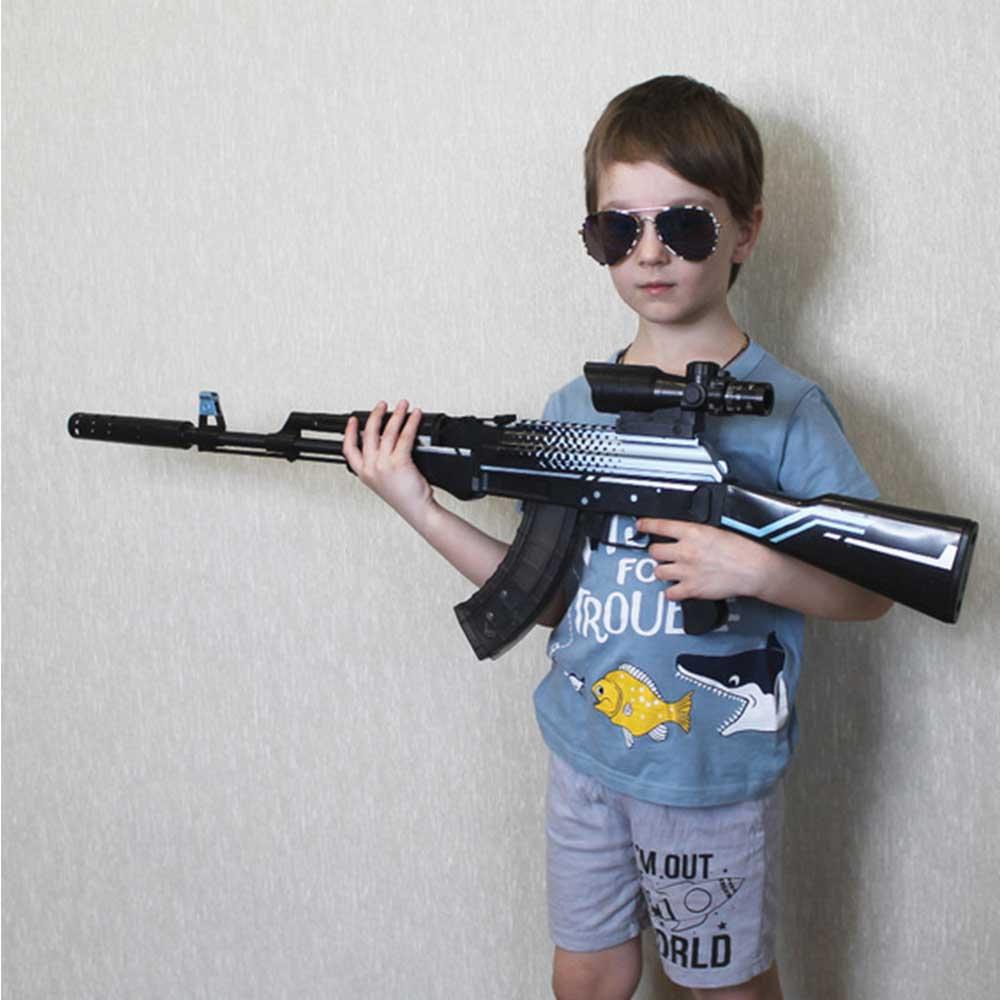 Assembled Rifle AK 47 Rifle Kids Toy Gun Plastic Weapon War Game Outdoor Game Live CS Manual Shooting Toys Gun for Boys Adult