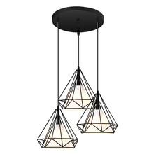 Vintage Anhänger Lampe Eisen Tuch Lampenschirm Schwarz Restaurant/Teehaus Indoor Eisen Kette Beleuchtung Moderne Anhänger Lichter 3 Köpfe