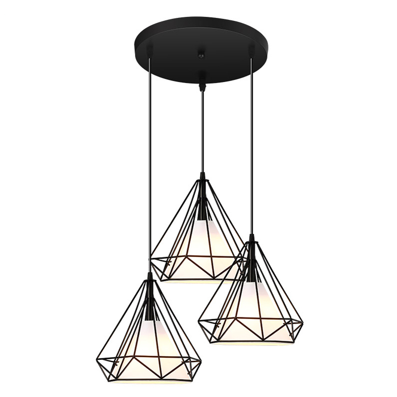 Vintage Pendant Lamp Iron Cloth Lampshade Black Restaurant Teahouse Indoor Iron Chain Lightings Modern Pendant Lights 3 Heads