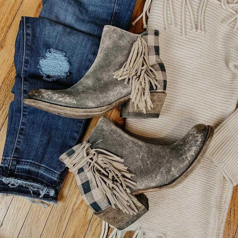 Botines Retro de mujer a cuadros con borla y cremallera en la espalda, zapatos de tacón grueso para todas las estaciones para mujer, botas de tacón bajo con punta redonda para mujer, Dropship
