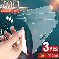 Protector de pantalla de vidrio templado para iPhone, cubierta completa 70D para 11 Pro, XS, MAX, XR, X, 11, XR, 10, 7, 8, 6 Plus