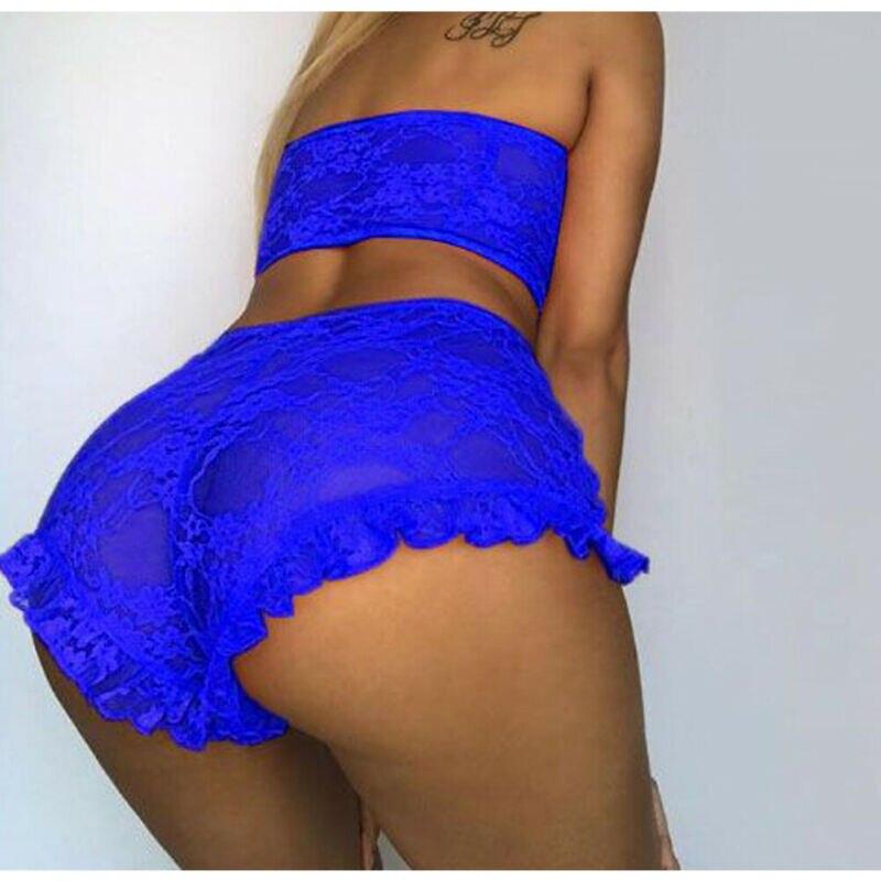 Porno Sexy Women Lingerie Set Lace Tulle Ruffles Sleepwear Babydoll Sexy Mesh Sheer Underwear Nightwear Exotic Set Nightwear