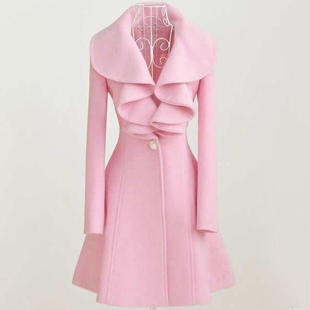 Модное пальто с оборками и воротником, Женское шерстяное пальто трапециевидной формы, Зимняя шерстяная верхняя одежда, тонкое однобортное ...