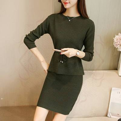 Autumn And Winter Fashion Set Dress 2019 New Style WOMEN'S Dress Korean-style Knitted Elegant Dress Fashion