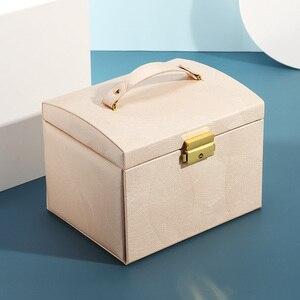 Image 4 - 2020 luksusowe pudełko na biżuterię Organizer duże PU skórzane szuflady pudełka na biżuterię kolczyk pierścień naszyjnik pojemnik na biżuterię prezent trumny