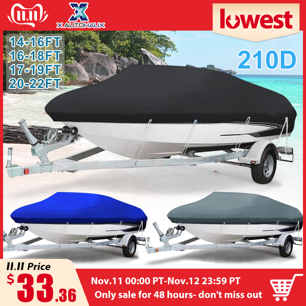 X AUTOHAUX 210D 540/570/700 x 280/300CM Trailerable Boat Cover Waterproof Fishing Ski Bass Speedboat V shape Black Boat Cover-in Boat Cover from Automobiles & Motorcycles