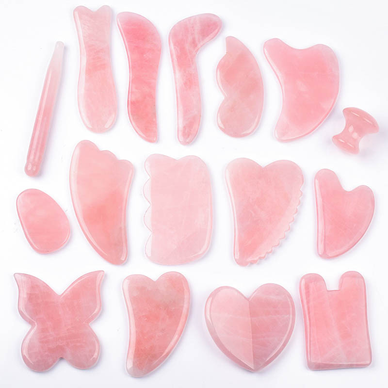 Whole Massage Gua Sha Tools 100% Natural Rose Quartz Massage Stone China Traditional Facial SPA Acupuncture Scraping  Guasha