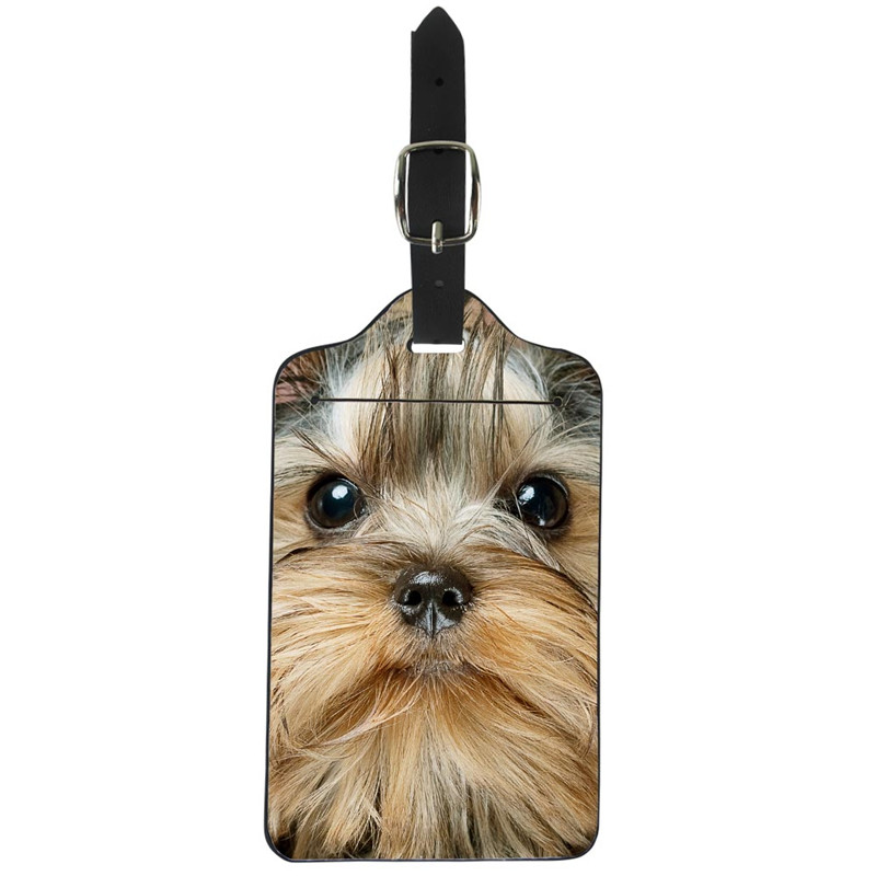 THIKIN Cute Schnauzer Dog Travel Luggage Tags 3D Animal Luggage Label Straps Suitcase Leather Classic Luggage Bags Accessories