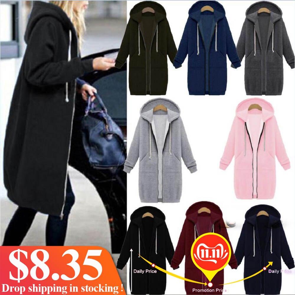 Plus size oversized hoodies moletom com zíper hoodies mulheres casaco longo 2019 bolsos zip up outerwear hoodies transporte da gota