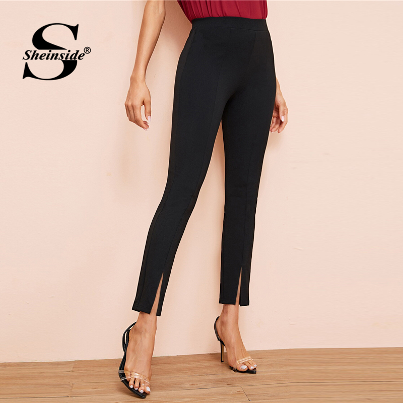 Image 3 - Sheinside Black Elegant High Waist Skinny Pants Women 2019 Autumn Elastic Waist Crop Trousers Office Ladies Split Hem Pants-in Pants & Capris from Women's Clothing