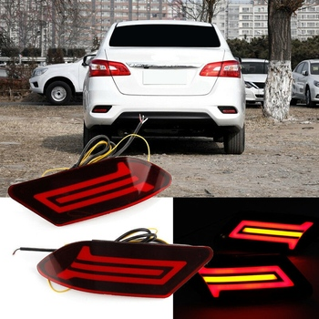 2Pcs Car LED Rear Bumper Reflector DRL Turn Signal Brake Light for Nissan Sylphy 2016-2018