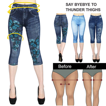 Sexy Faux Jeans Leggings Women Stretch Printed Short Leggins Plus Size Calf Length Pants Summer Breeches High Waist Jeggings 1