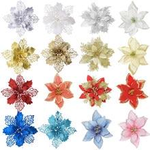 5 шт./лот, блестящие искусственные цветы для украшения рождественской елки, Poinsettia, рождественские украшения для дома, свадьбы, украшения для ...