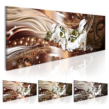 (Без рамки) Орхидея, цветок, Будда, холст, печать, современная абстрактная картина дзен, искусство, украшение для дома, выберите цвет и размер