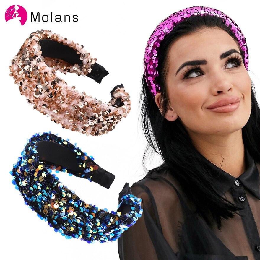 Molans Christmas Black Sequin Headband Simple Wide Brimmed Headbands Blingbling Wash Face Hair Band Diademas Pelo Mujer