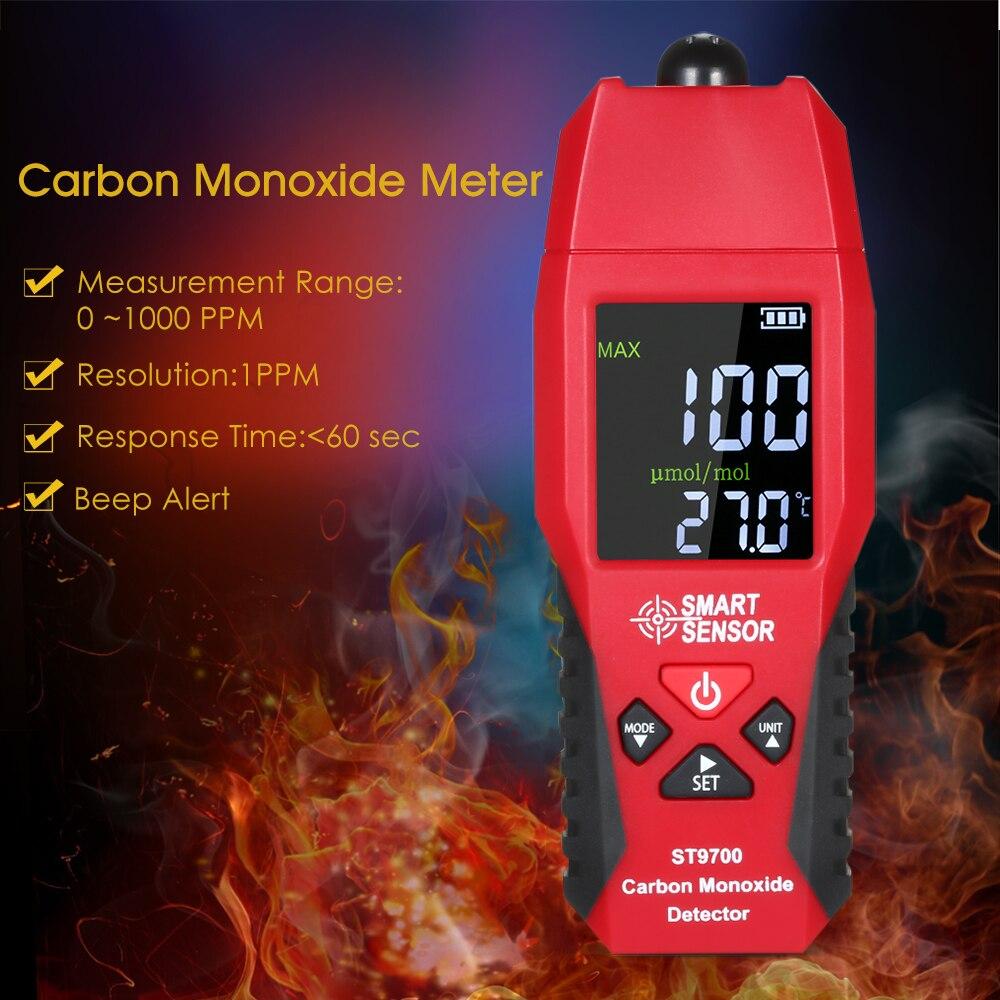 Medidor de monóxido de carbono ST9700, medidor de prueba de alta precisión, medidores detectores de monitoreo, pantalla LCD a Color, sonido
