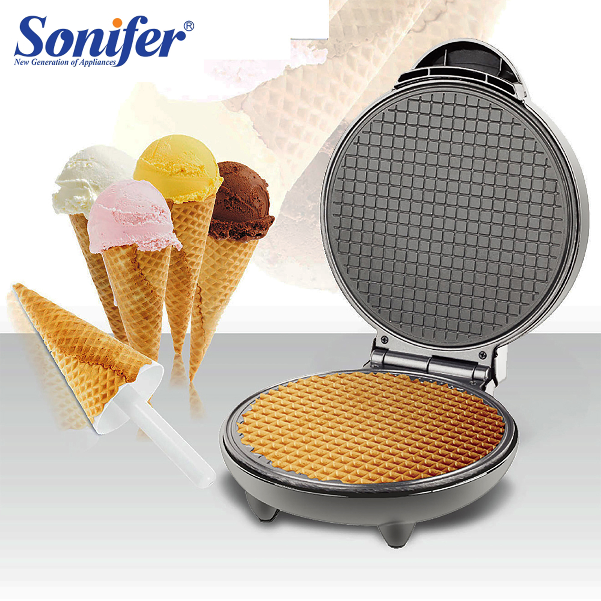 <font><b>Electric</b></font> Egg Roll Maker Crispy Omelet Mold Crepe <font><b>Baking</b></font> <font><b>Pan</b></font> Pancake Bakeware DIY Ice Cream Cone Machine Pie Frying Grill Sonifer image