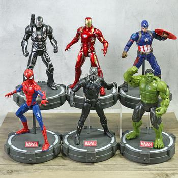 ZD zabawki Marvel Avengers Iron Man MK85 Spiderman kapitan ameryka Thor wojna maszyna czarna pantera Hulk Thanos 7 #8222 figurka prezent tanie i dobre opinie Disney Model 4-6y 7-12y 12 + y CN (pochodzenie) Unisex not for children under 3 years 18~22cm On Avengers Wersja zremasterowana