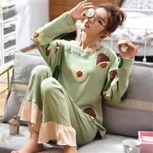 Image 2 - 女性ホームウェアグリーンアボカドパターンoネック寝間着部屋着カジュアル綿パジャマ漫画長袖パジャマ 2 ピースセット