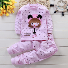 Cute Girl Pajamas Kid Cartoon Dot Sleepwear Baby Clothing Set