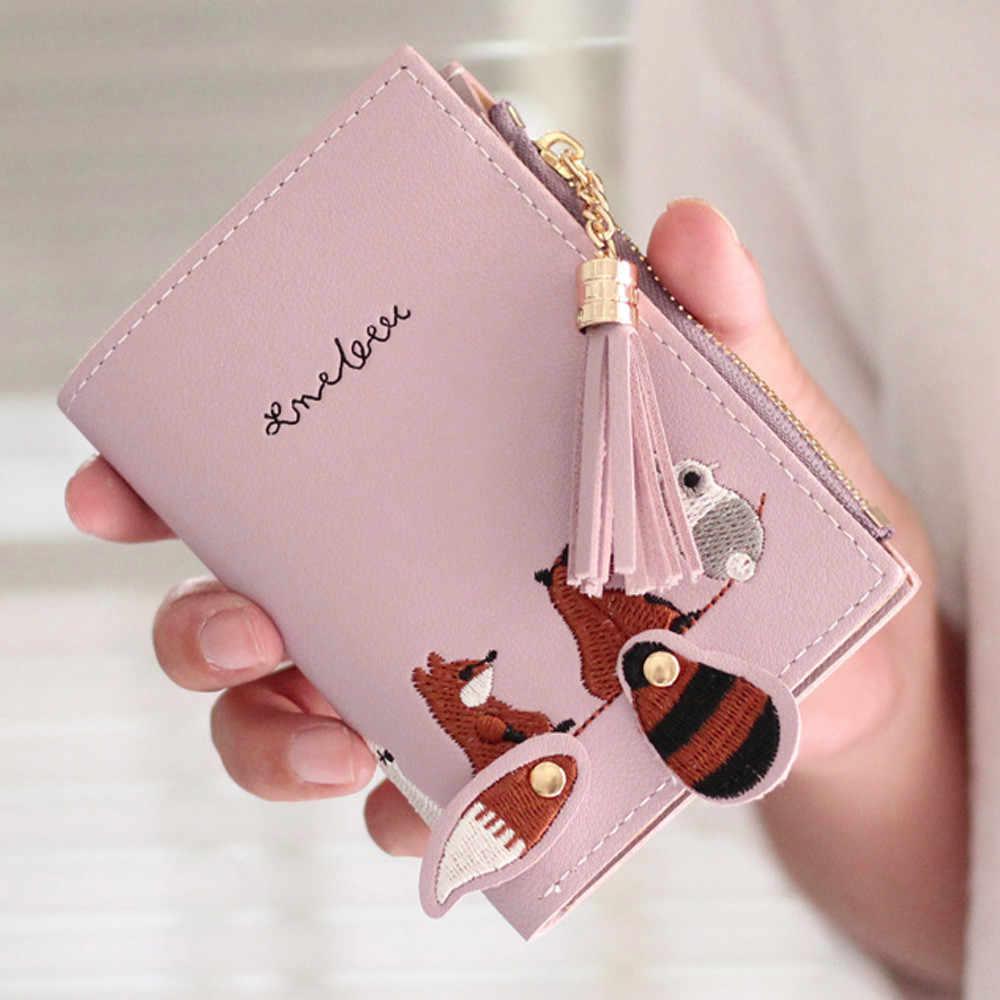 MAIOUMY 2019 חדש נשים שועל חתול קצר ארנק ציצית מטבע ארנק כרטיס מחזיקי תיק חבילה PU אשראי כרטיס שקיות משלוח -חינם #03