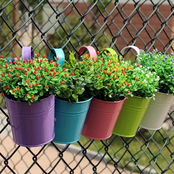 10 Colors Removable Hanging Flower Pots  Hook Wall Garden Balcony Planters Metal Bucket Holders Home Decor