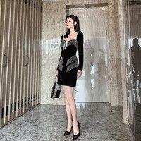 Dress dress 2020 New Retro light mature style velvet chain tassel bra dress party dress long sleeve dress black dress