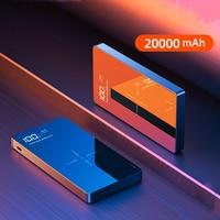 Banco de potência 20000 mah qi carregador sem fio para iphone 11 pro max samsung s9 powerbank carregador portátil bateria externa poverbank|Baterias Externas| |  -