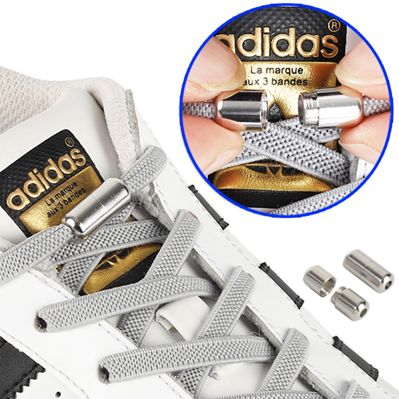 Weave Elastic Flat Shoelaces Round Metal Locking Device No Tie Shoelace Fashion Kids Adult Sneakers Unisex Lazy Laces 1 Pair