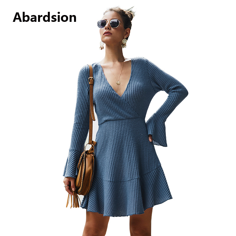 Abardsion Women Knitted Dress Autumn Winter Ruffles Elegant Dresses Ladies Casual Long Sleeve V Neck A Line High Waist Vestidos