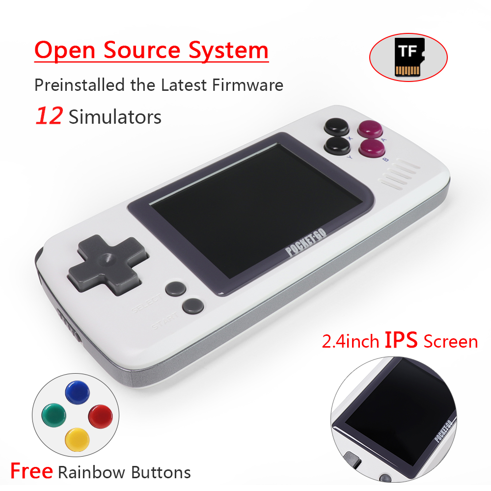 Video Game Console -PocketGO - Portable Handheld Retro Game Players Progress Save/Load MicroSD card External Colorful Screen title=